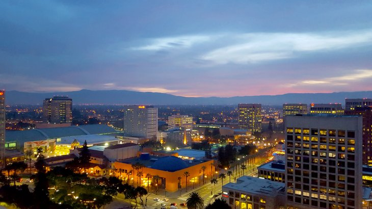 The skyline of San Jose, which has a lower median rent than median mortgage payment
